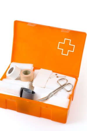 Open first aid kit isolated on white background Stock Photo - 9111286