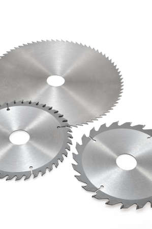 Circular saw blades for wood isolated on white Stok Fotoğraf