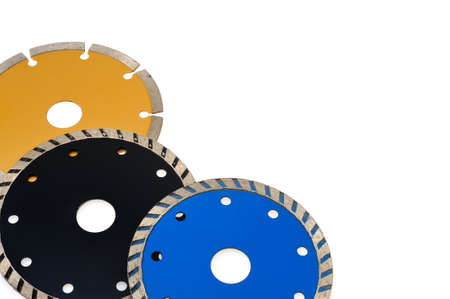 Circular grinder blades for tiles isolated on white Stok Fotoğraf