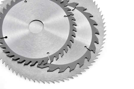 Circular saw blades for wood isolated on white Stock Photo
