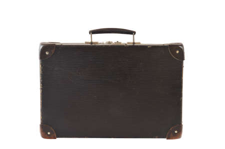 Old retro-styled travel suitcase isolated on white background photo