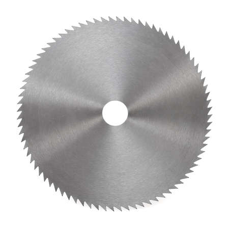 Circular saw blade for wood isolated on white photo