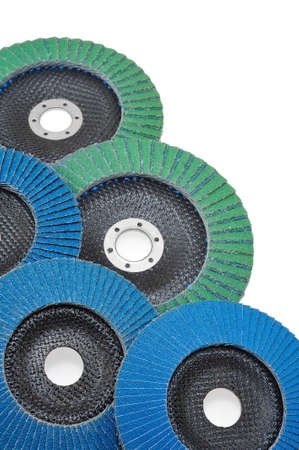 Abrasive disks for grinder isolated on white photo