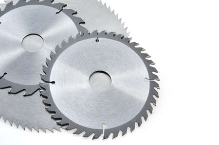 Circular saw blades for wood isolated on white Stock Photo - 9111314