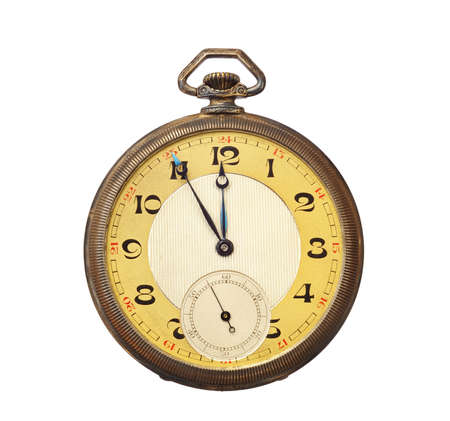 Old antique pocket watch isolated on white background.  photo