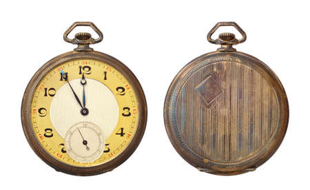 pocket watch: Old antique pocket watch isolated on white background.  Stock Photo
