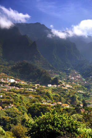 Madeira mountain scenery, Lombo da Serra dos Judeus, Portugal. View of Pico de Selada, Pico da Escada photo