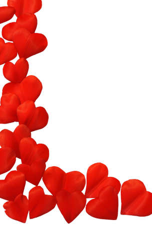Petals in heart shape over white background - frame. Clipping path included. Stock Photo - 9813416
