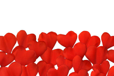 Petals in heart shape over white background - frame. Clipping path included. photo