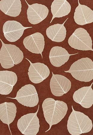 Skeletal leaves over brown handmade paper - background photo