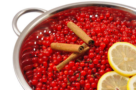 Red currant berries and ingredients for making jam photo