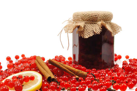 Jar of homemade red currant jam with fresh fruits Stock Photo - 10750435