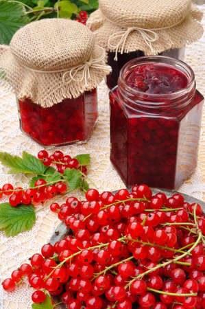 Jars of homemade red currant jam with fresh fruits Stock Photo - 10750445