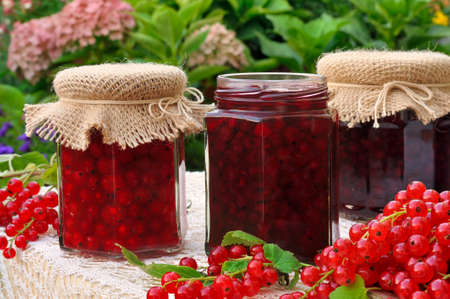 Jars of homemade red currant jam with fresh fruits photo