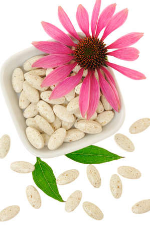 Echinacea purpurea extract pills, alternative medicine concept photo