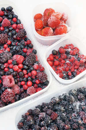 brambleberry: Plastic containers of frozen mixed berries in snow - red currant, cranberry, raspberry, blackberry, bilberry, blueberry, black currant, strawberry