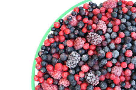 brambleberry: Frozen mixed fruit in bowl - berries - red currant, cranberry, raspberry, blackberry, bilberry, blueberry, black currant Stock Photo