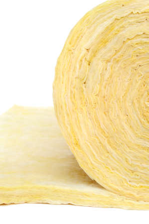 Roll of fiberglass insulation material, isolated on white background  Stock Photo