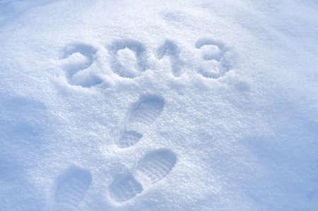 foot step: Piede in fase di stampa Anno nuovo neve 2013 concetto