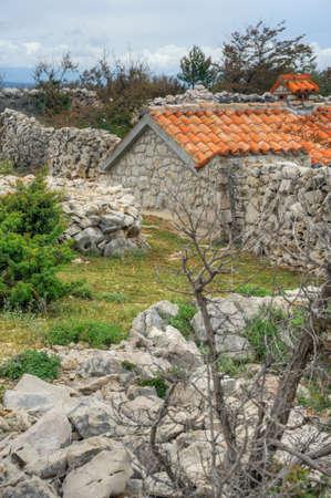Stone house, Rudine, Krk island, Croatia Stock Photo - 16284521