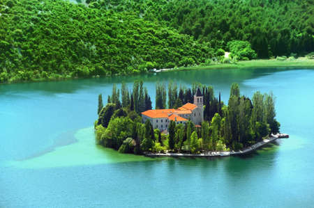 Visovac, Christian monastery, Croatia Stock Photo - 16279545