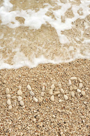 directly above: �HVAR� word made of pebbles, authentic picture of Hvar�s beach