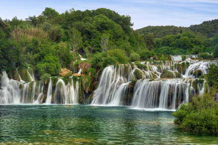 rivers mountains: Krka river waterfalls in the Krka National Park, Roski Slap, Croatia Stock Photo