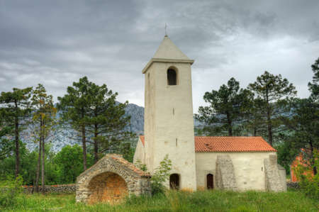 St Peter's Church, medieval church situated on the Adriatic highway between Starigrad and Seline, Starigrad - Paklenica, Croatia Stock Photo - 16279532