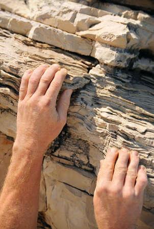 crack climbing: Rock climber, detail of hands