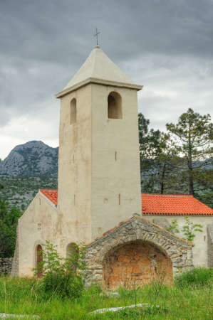Church of St  Peter, medieval church situated on the Adriatic highway between Starigrad and Seline, Starigrad - Paklenica, Croatia Stock Photo - 16388859