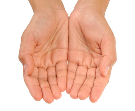 Cupped hands of young woman photo