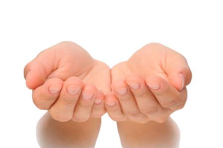 mano touch: Belle mani a coppa di giovane donna