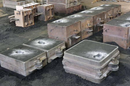 Foundry, sand molded casting, molding flasks Stock Photo