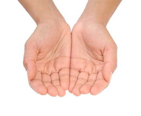 Cupped hands of young woman Standard-Bild