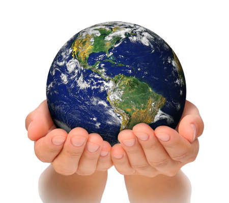 hands holding globe: Woman holding globe on her hands, South and North America