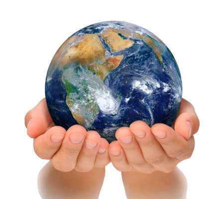 Hands of woman holding globe, Africa and Near East cut out. Standard-Bild