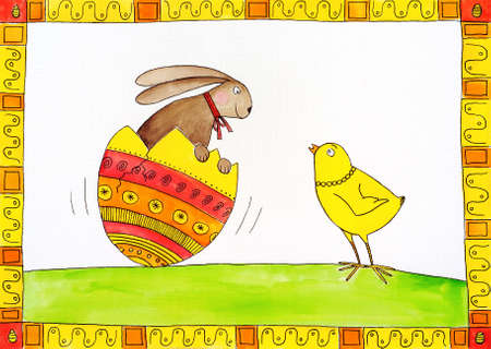 child s: Easter card, child s drawing, watercolor painting on canvas paper