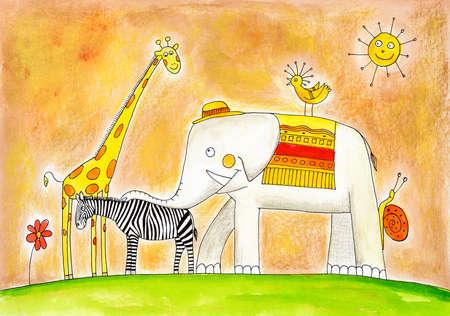 dessin enfants: Groupe d'animaux, dessin d'enfant s, peinture à l'aquarelle sur papier