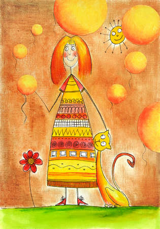 child s: Happy girl with cat, child s drawing, watercolor painting over sky