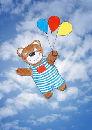 Happy teddy bear, child s drawing, watercolor painting over sky photo