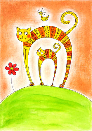child s: Cat and kitten, child s drawing, watercolor painting on paper