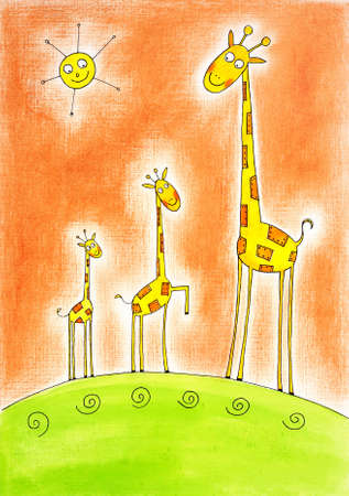 child s: Three happy giraffes, child s drawing, watercolor painting on paper