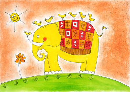 child s: Happy elephant and birds, child s drawing, watercolor painting on paper