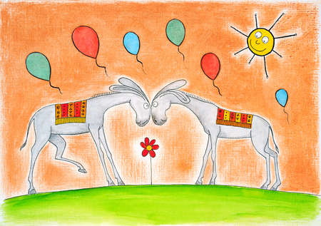 jack ass: Happy donkeys with balloons, child s drawing, watercolor painting on paper