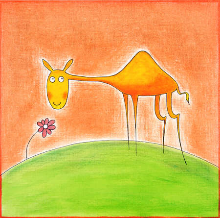 child s: Happy young camel, child s drawing, watercolor painting on paper