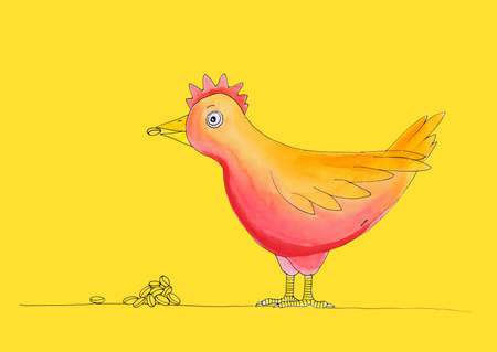 child s: Chicken having meal, child s drawing, watercolor painting on paper