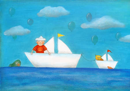 Young boy sailing, child s drawing, oil painting on canvas
