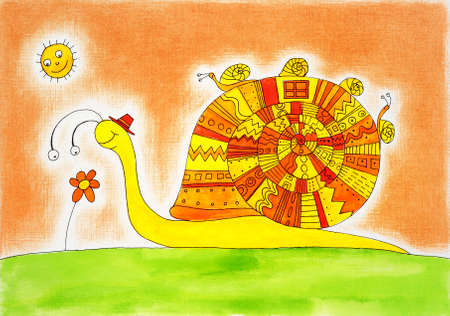 Snail family, child s drawing, watercolor painting on paper
