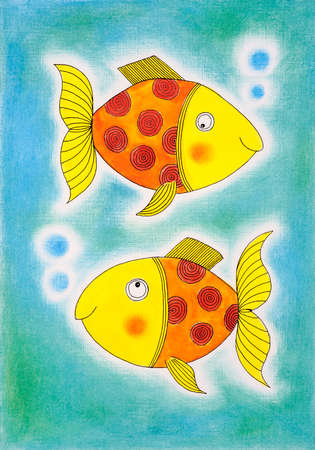 child s: Two golden fish, child s drawing, watercolor painting on paper