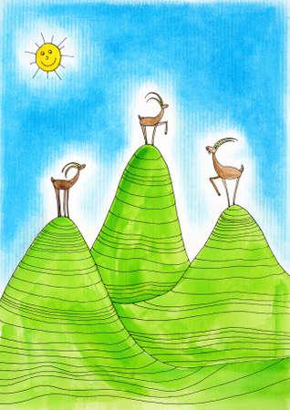 montañas caricatura: Tres cabras monteses Alpine, dibujo, pintura de niño s acuarela sobre papel